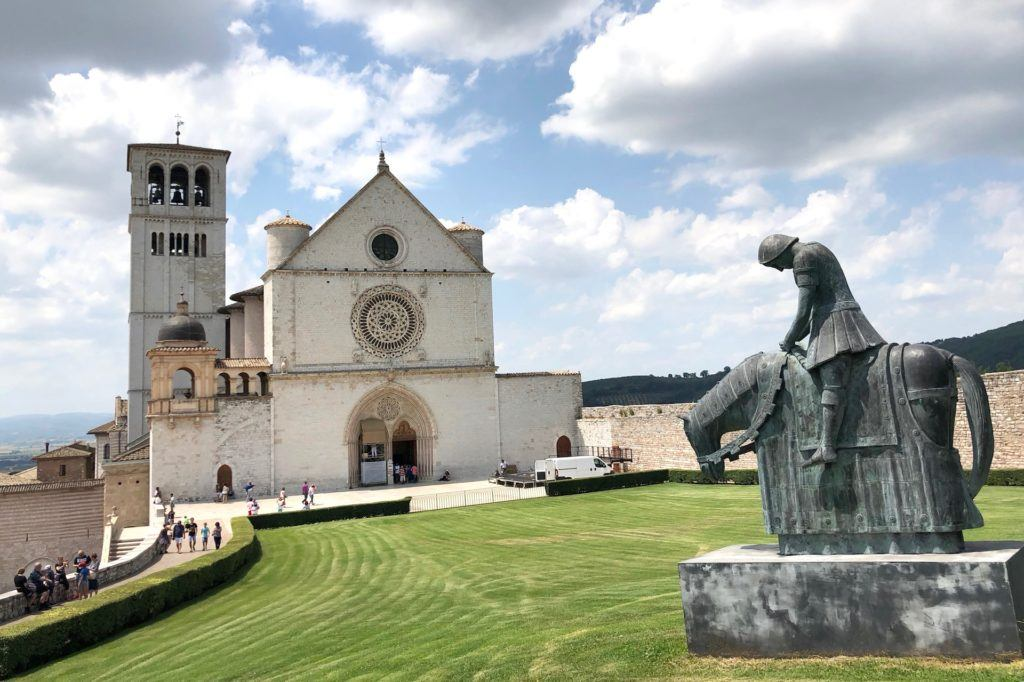 Assisi St Francis cathedral and statue