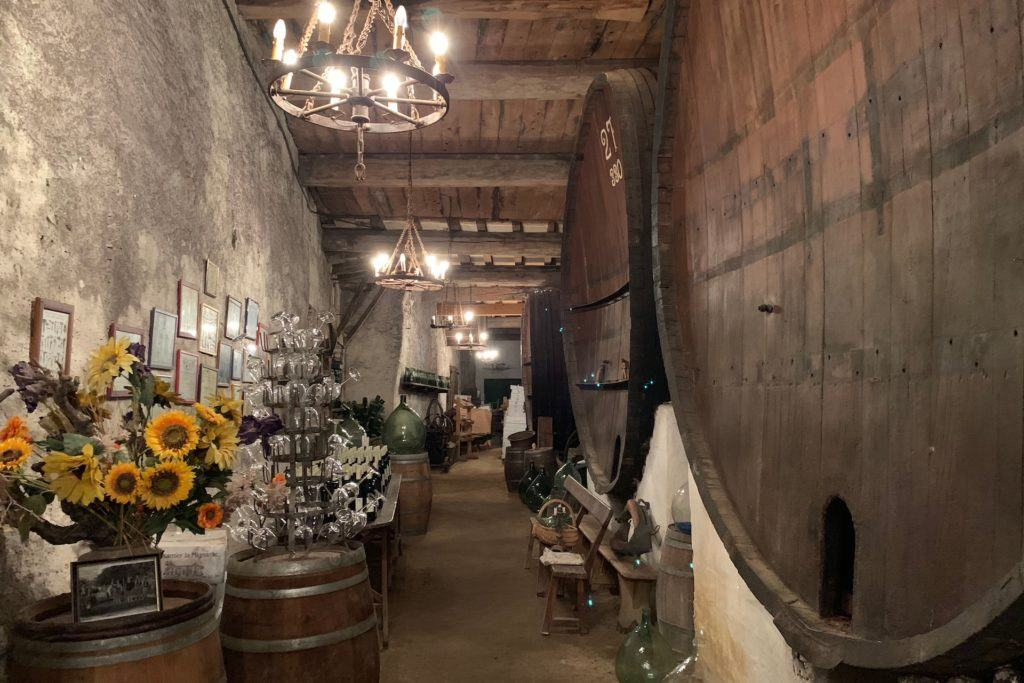 Chateau Massamier la Mignarde barrels in tasting room