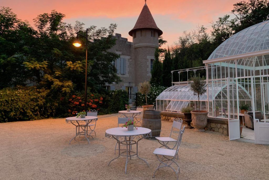 Sunset at Chateau Les Carrasses in France