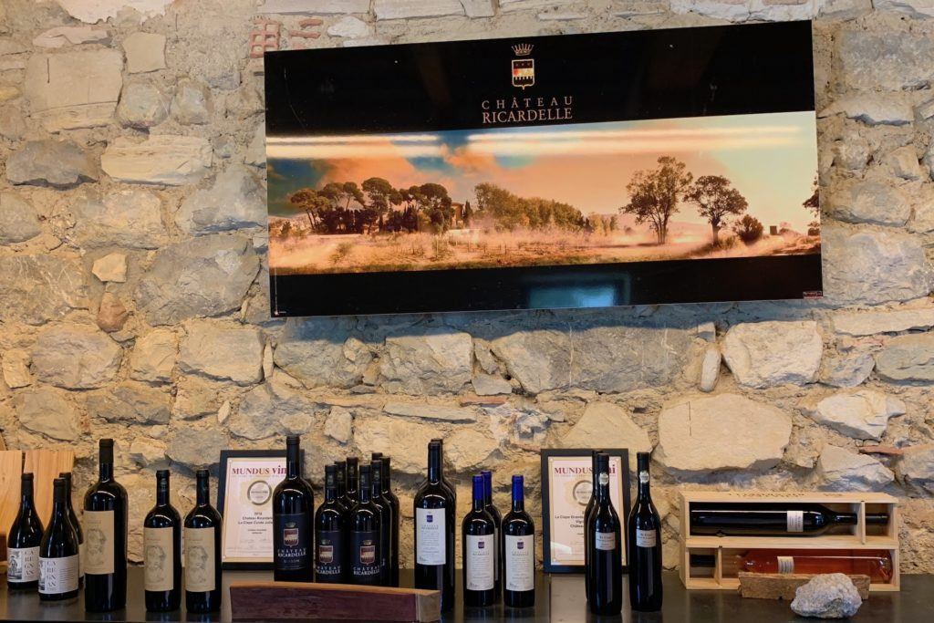 Chateau ricardelle tasting room wine bottles
