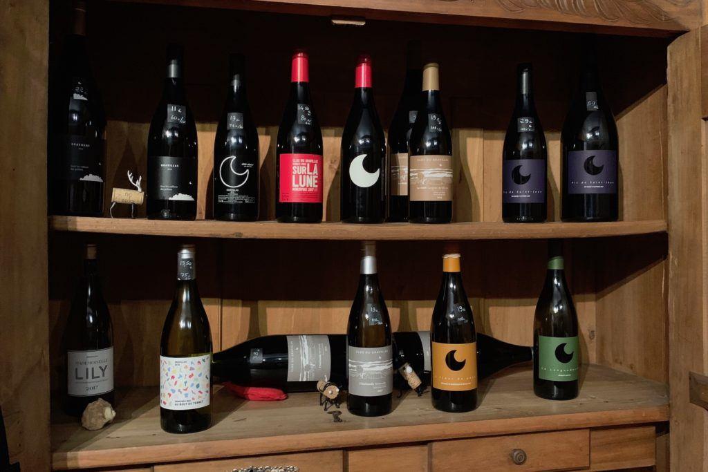 wines in cabinet at Clos du Gravillas