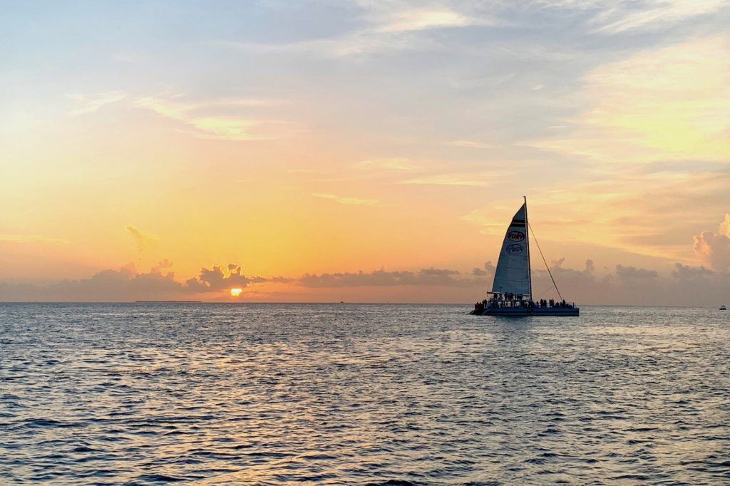 Sailboat at sunset in Key West