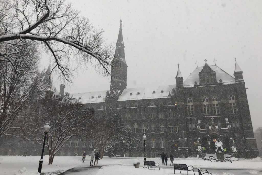 Healy Hall Georgetown University in the snow
