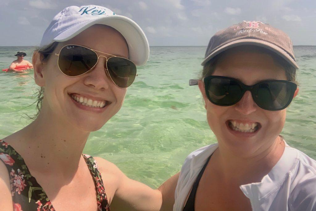 Kim and Tamara in water snorkeling