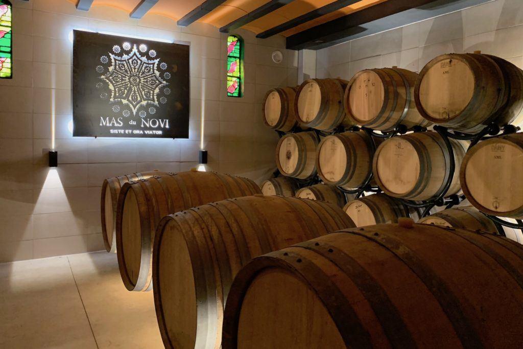 wine barrel room at Mas du Novi