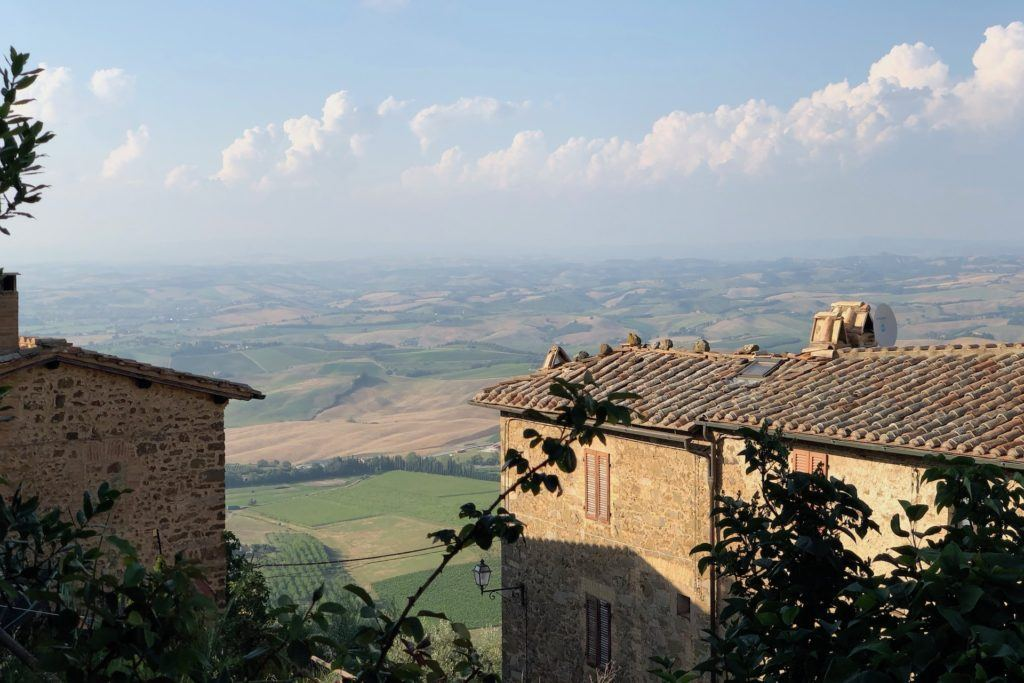 Where to stay in Southern Tuscany - View of hills near Montalcino
