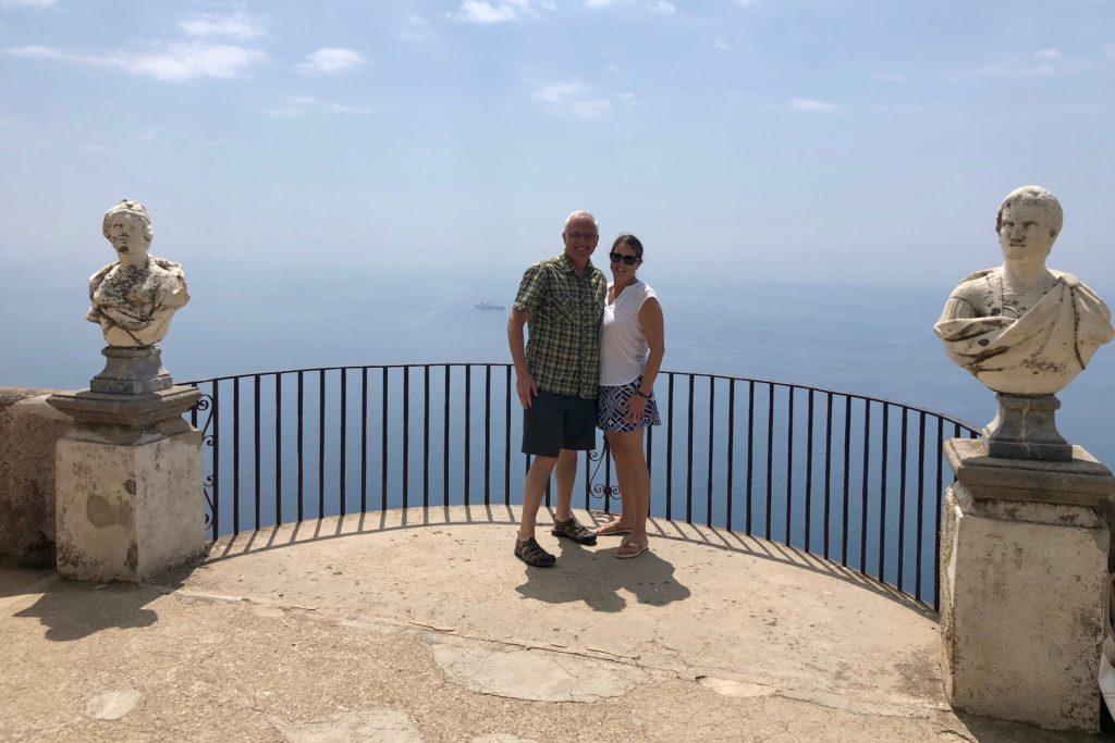 Couple on a terrace in Villa Cimbrone in Ravello Italy