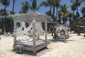 beach cabanas at the Eden Roc at Cap Cana