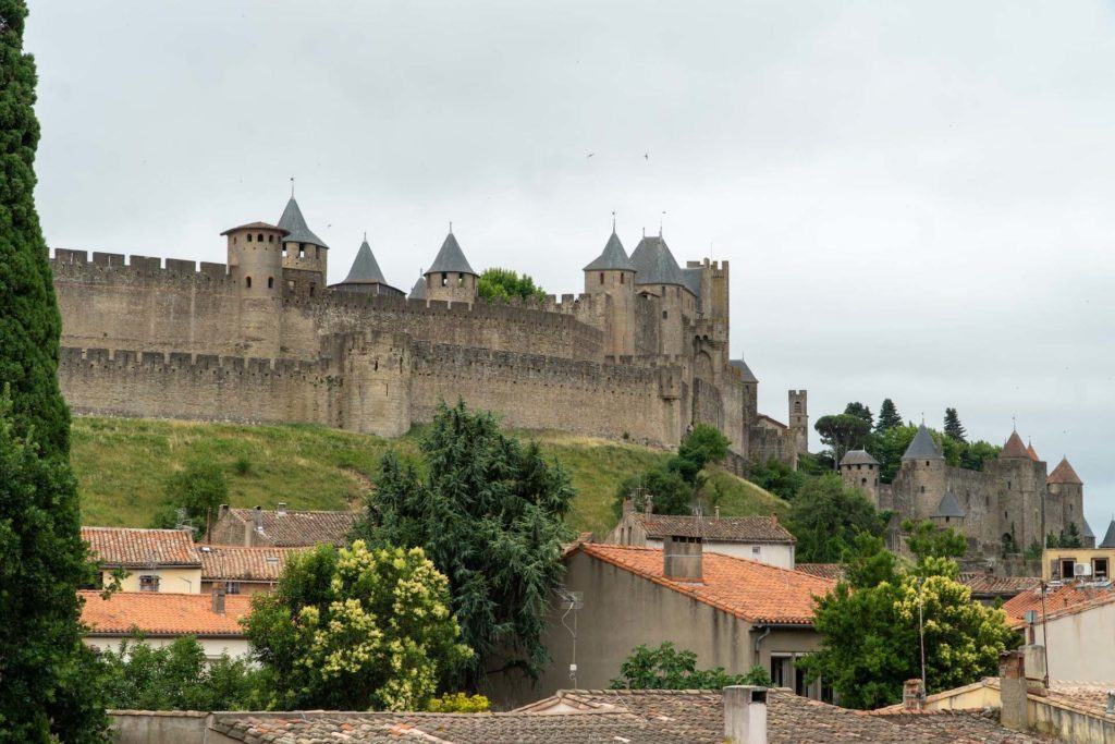 Carcassonne ramparts from lower town