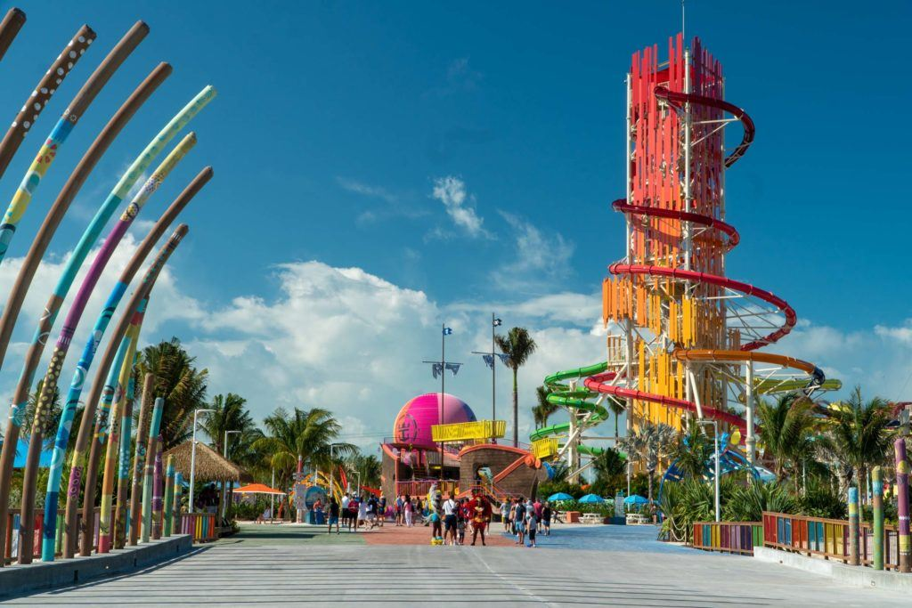 Perfect day at Coco Cay dock with water slide in the background