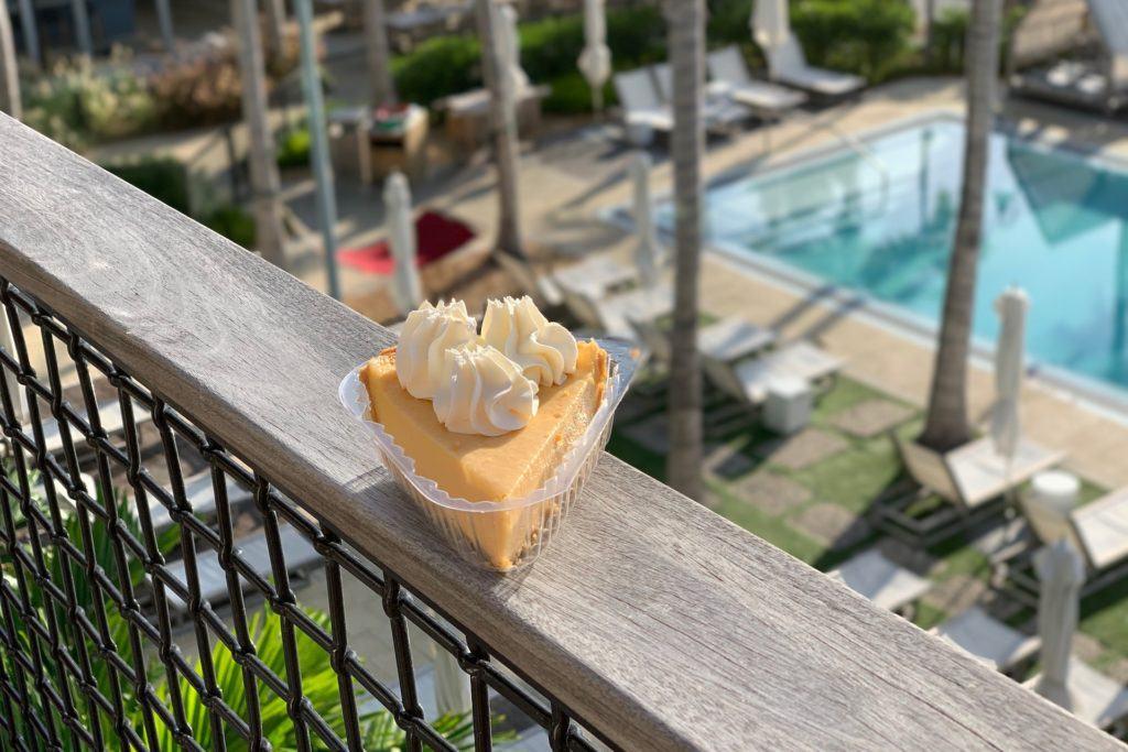 mango key lime pie on balcony overlooking pool