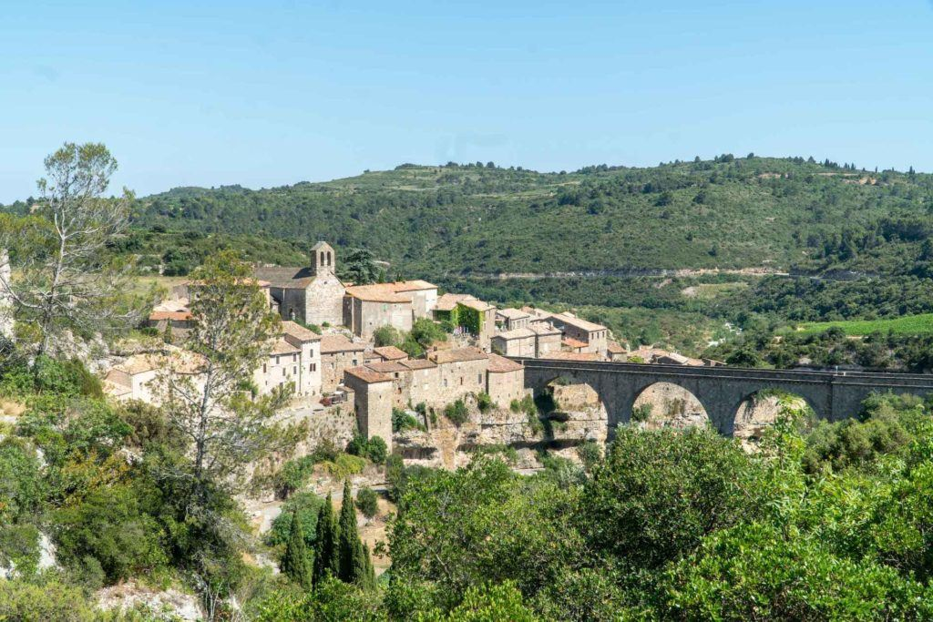Town of Minerve, France and bridge from above