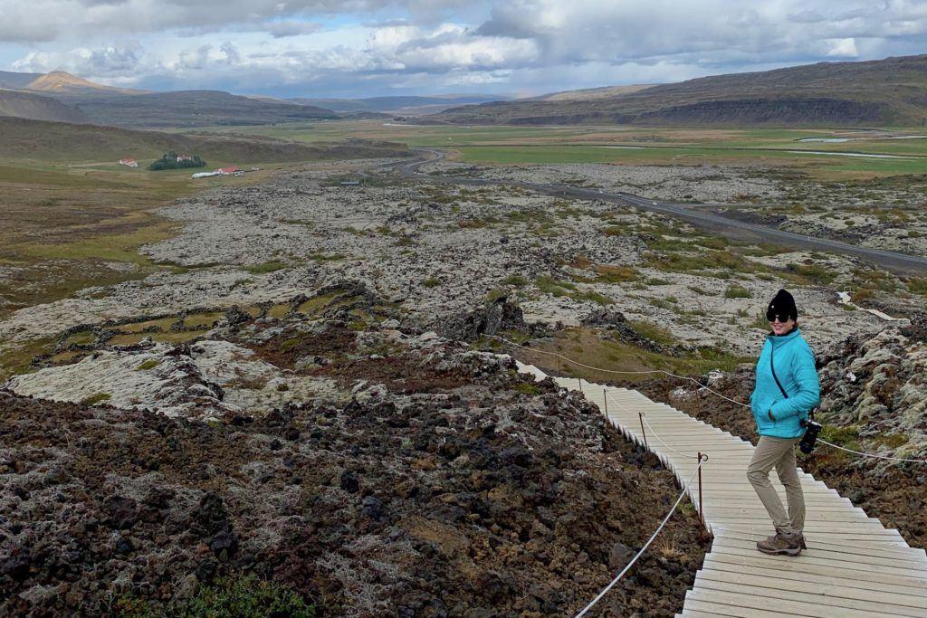 Tamara walking down stairs of volcanic crater