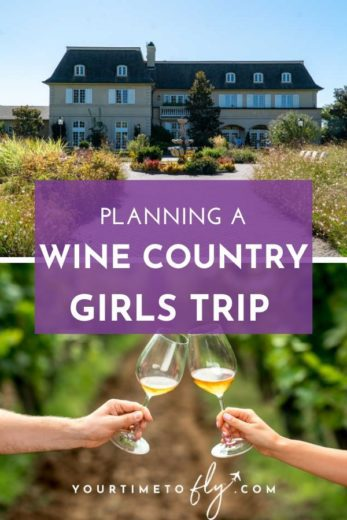 Planning a wine country girls trip - Kendall Jackson estate and two hands holding wine glasses in the vineyard
