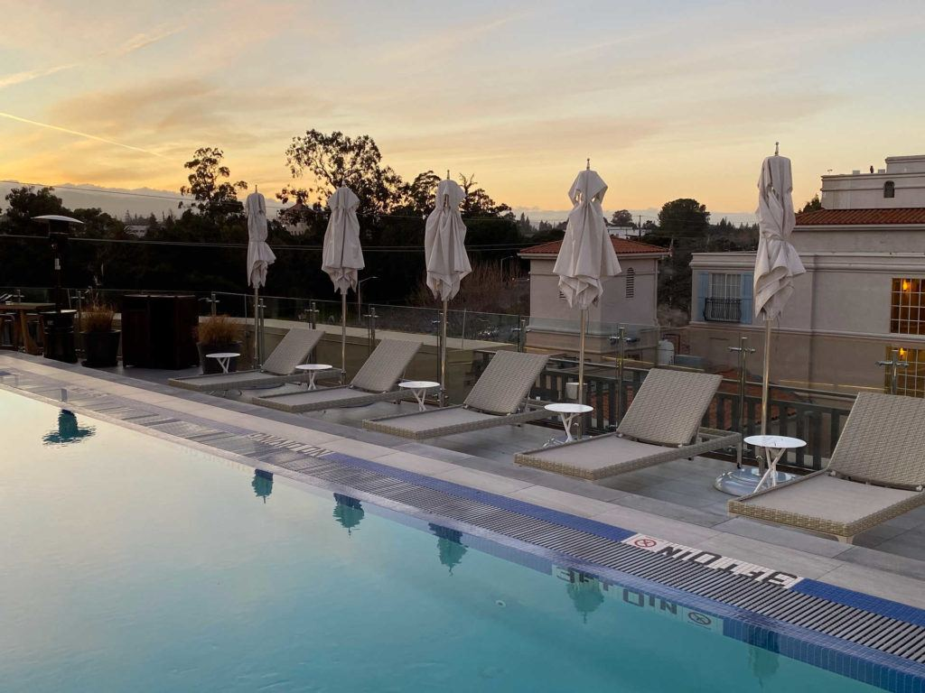 the rooftop pool at the Clement Hotel