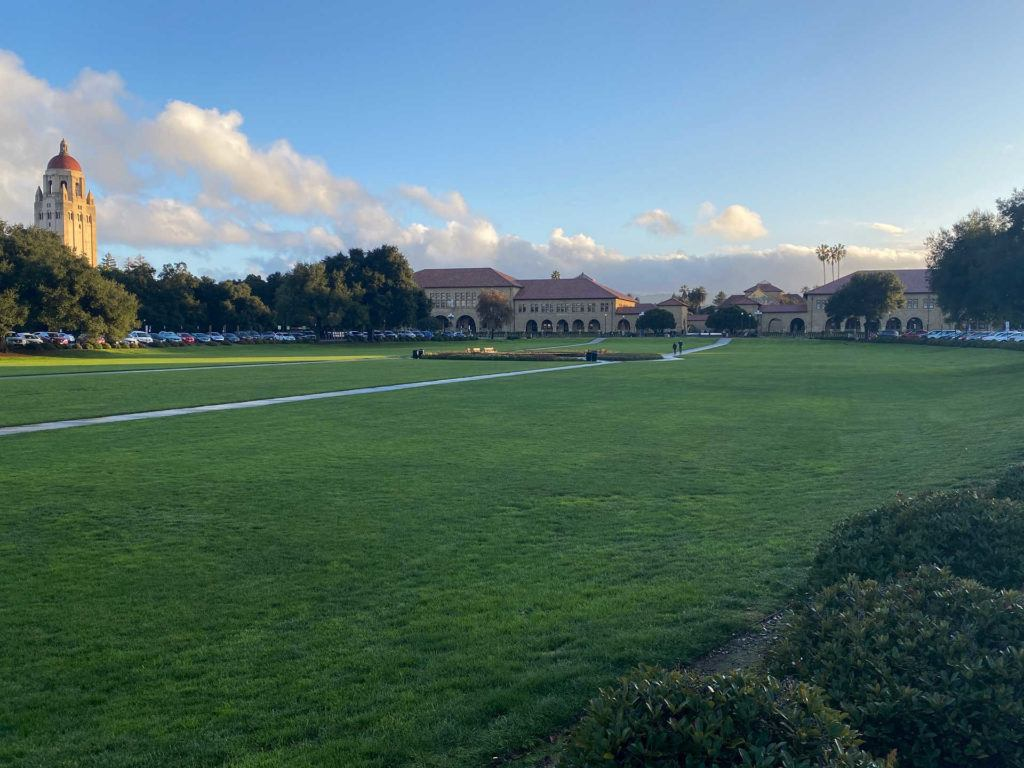The Stanford Quad as viewed from the Oval