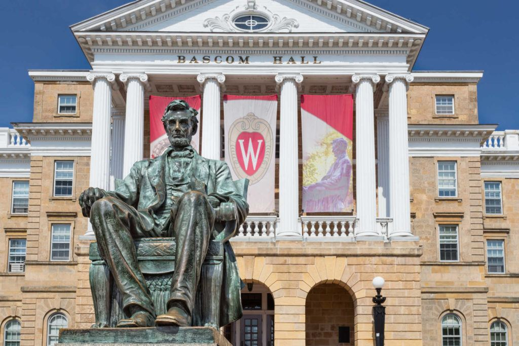 University of Wisconsin Madison Bascom Hall with Abe Lincoln statue
