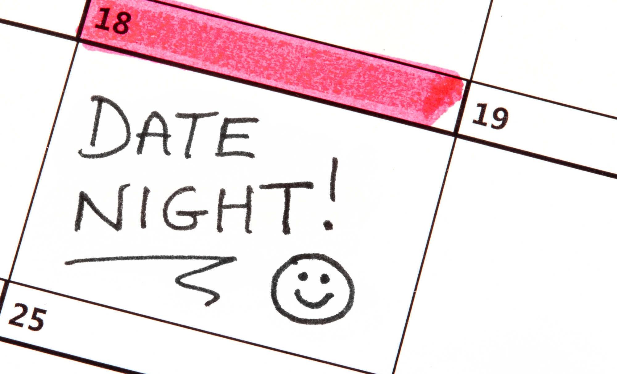 A date night highlighted on a calendar
