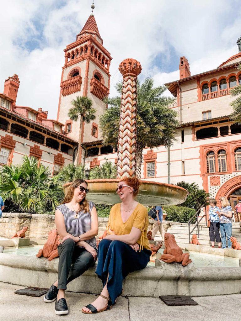 Tamara and Keryn at Flagler College on a St. Augustine girls weekend