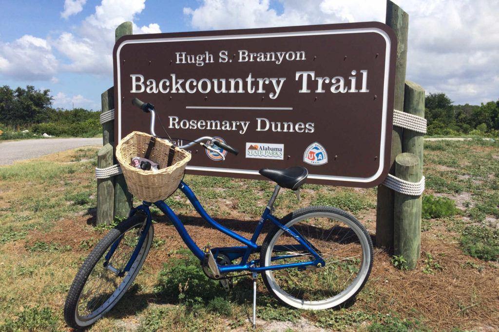 Backcountry Trails bike path sign and bike