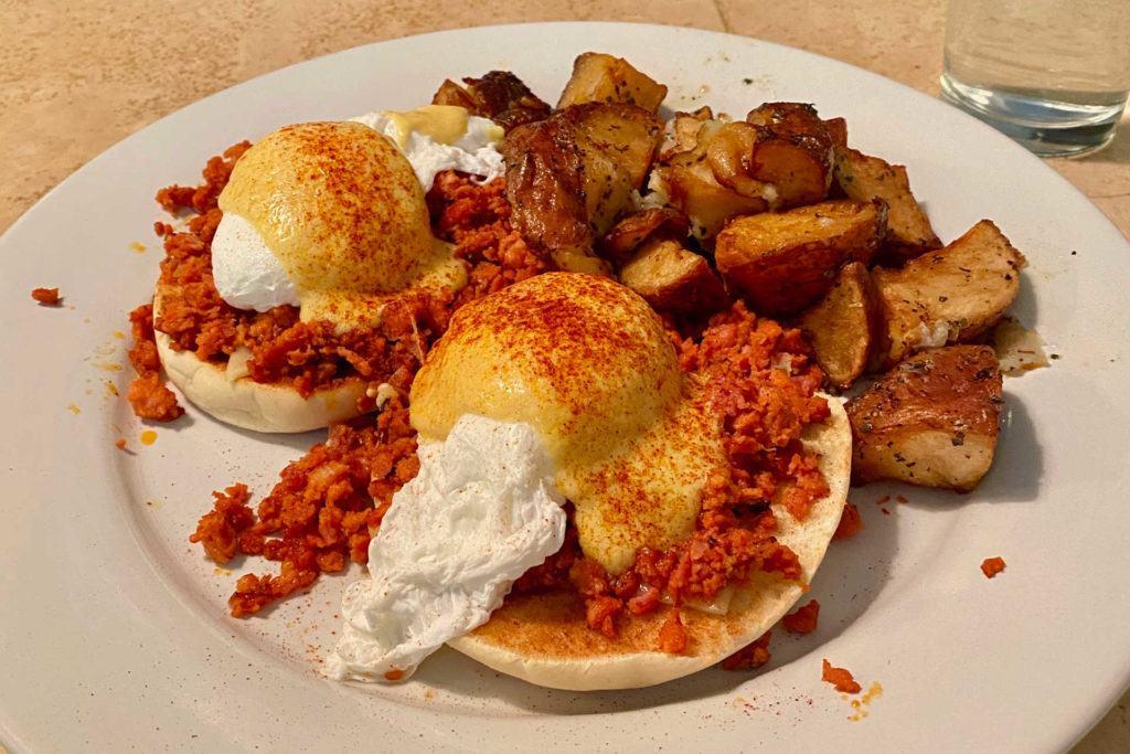 Eggs benedict at Corner Cafe