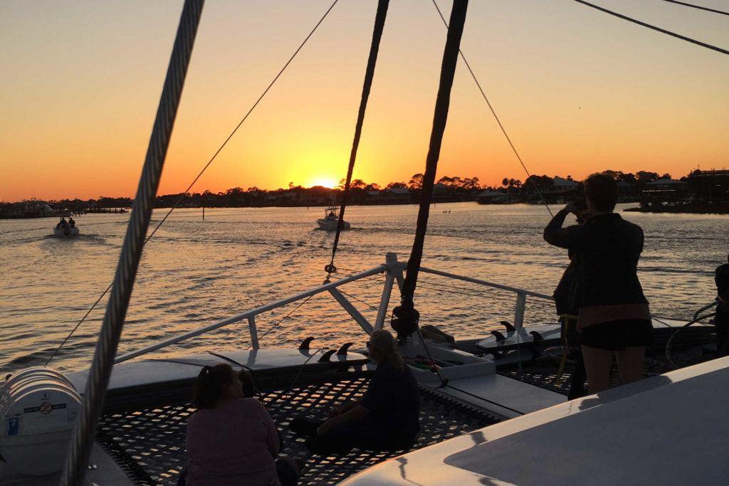 sunset catamaran cruise with Sail Wild Hearts
