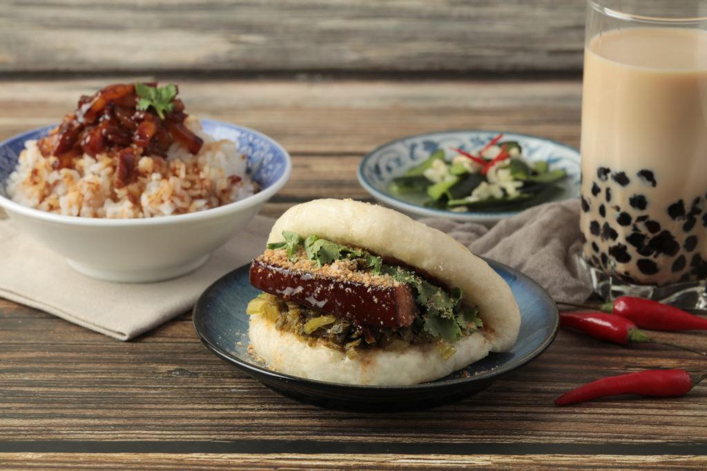 Bao bun, rice and bubble tea