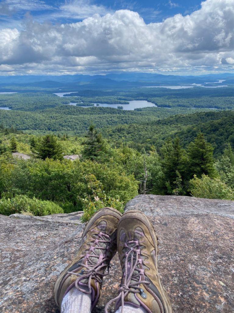 Merrell hiking boots overlooking valley