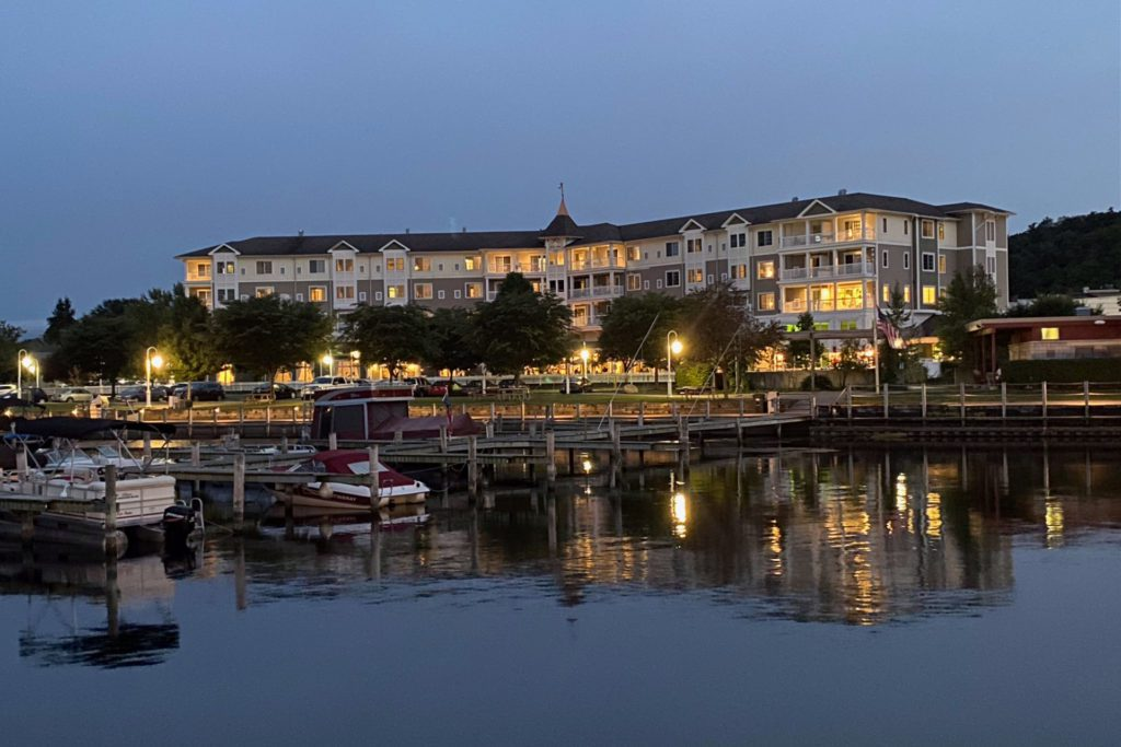 Watkins Glen Harbor Hotel from the water at night