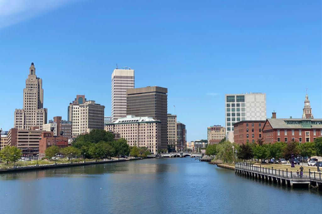 Providence skyline from the pedestrian bridge.