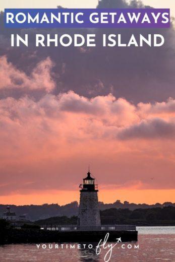 Romantic getaways in Rhode Island sunset over lighthouse