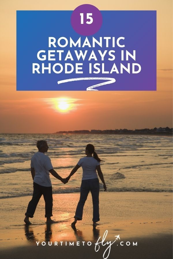 15 Romantic getaways in Rhode Island couple on a beach holding hands at sunset