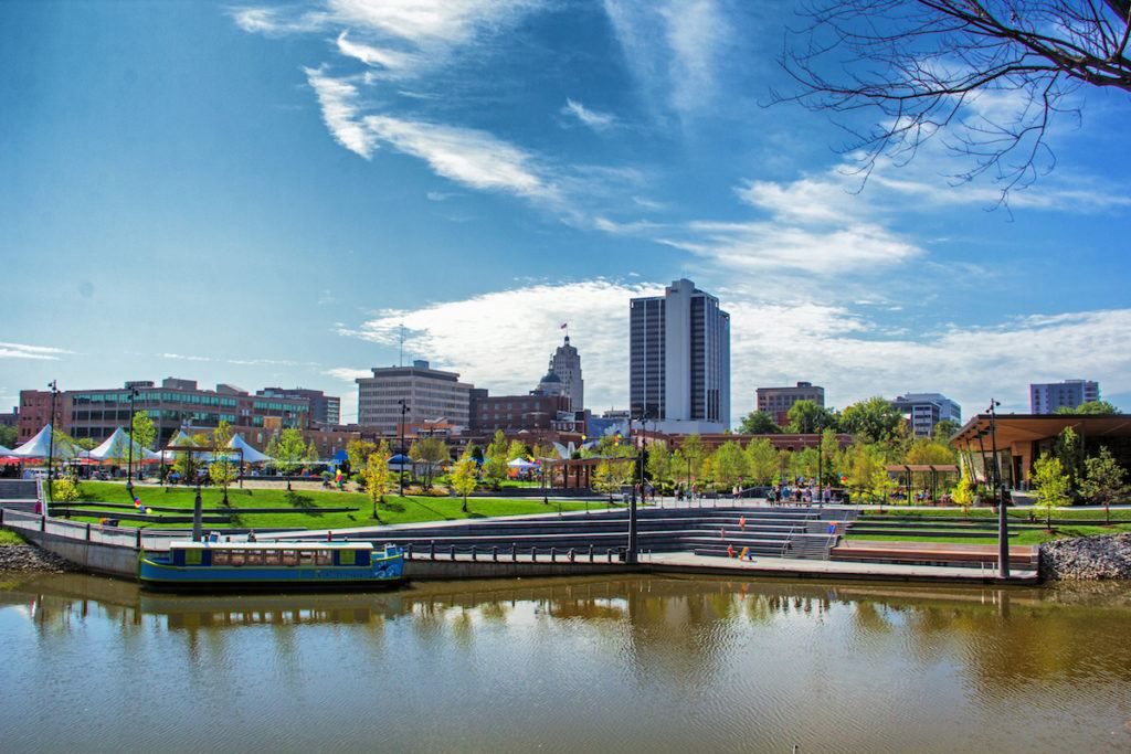 Fort Wayne Indiana Promenade Park from the water