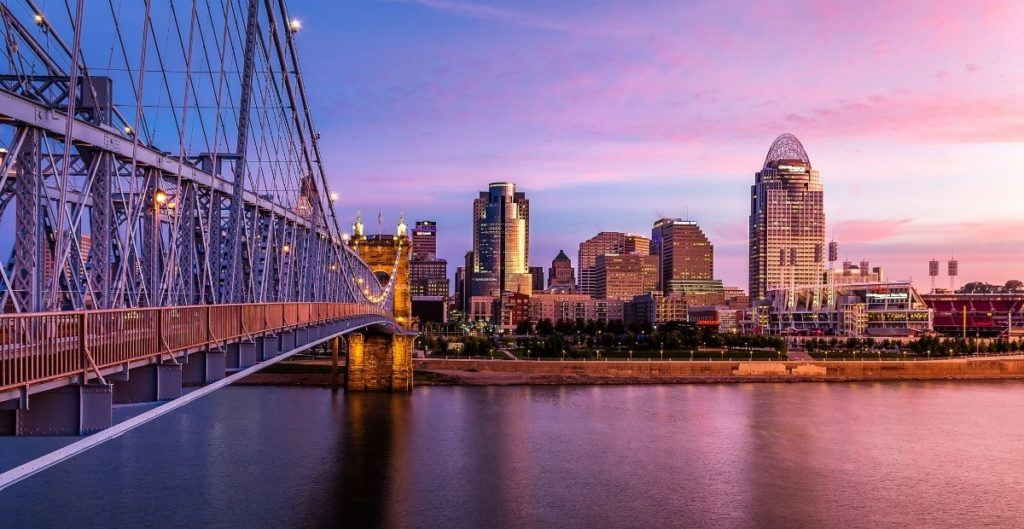 Cincinnati skyline and bridge at sunset