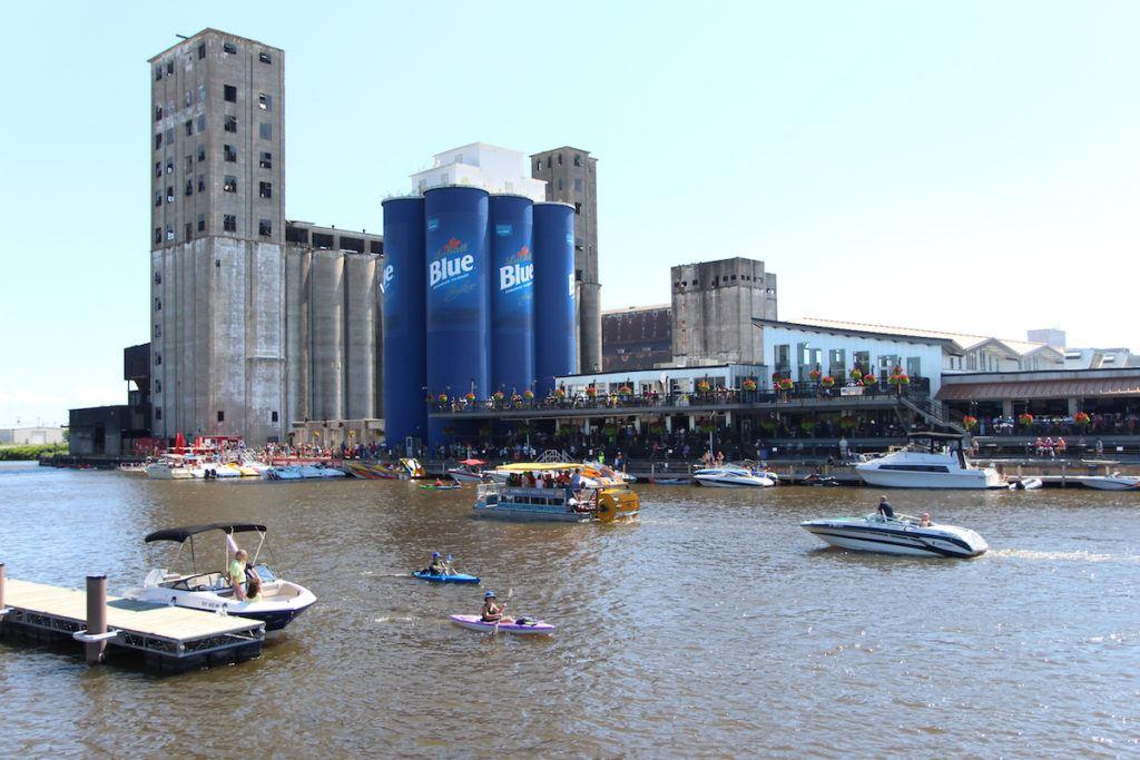 Buffalo NY RiverWorks boats on lake and Pabst Blue Ribbon stacks