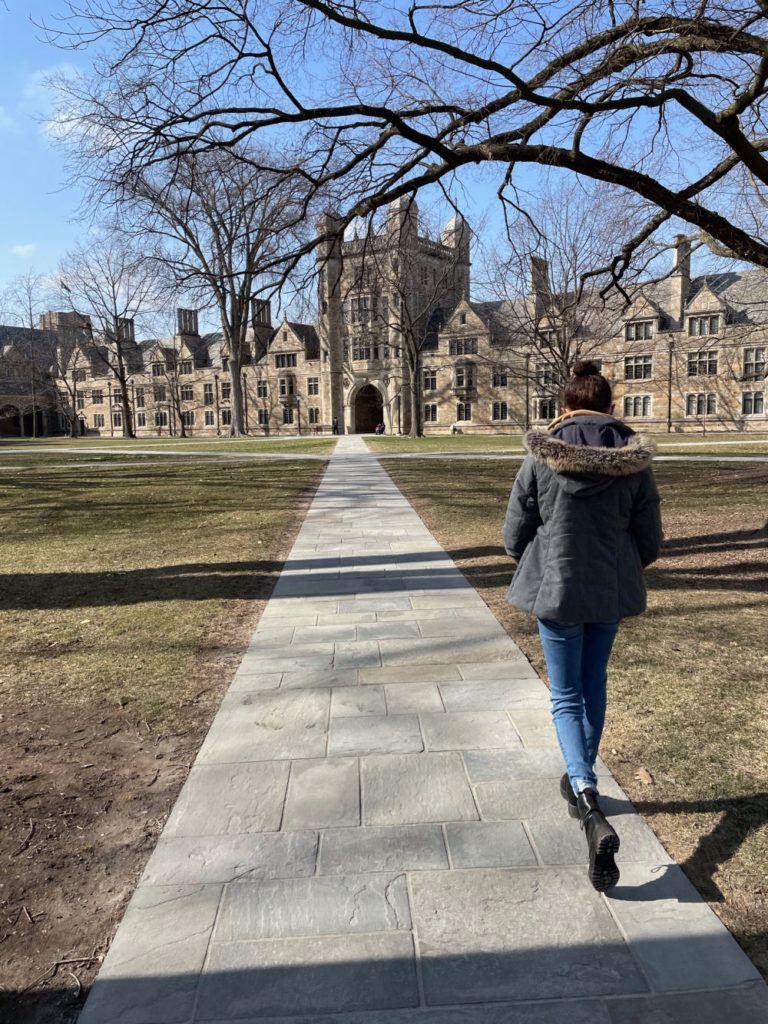 Walking through the University of Michigan Ann Arbor Law Quad