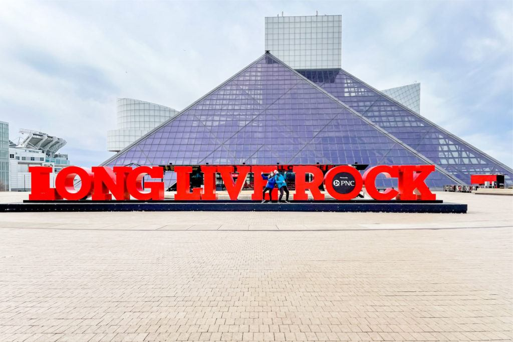 Rock and Roll Hall of Fame sign that says Love Live Rock