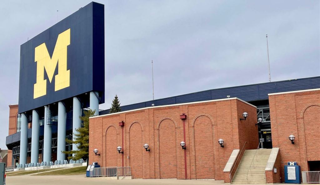 The University of Michigan Football stadium sign and entrance