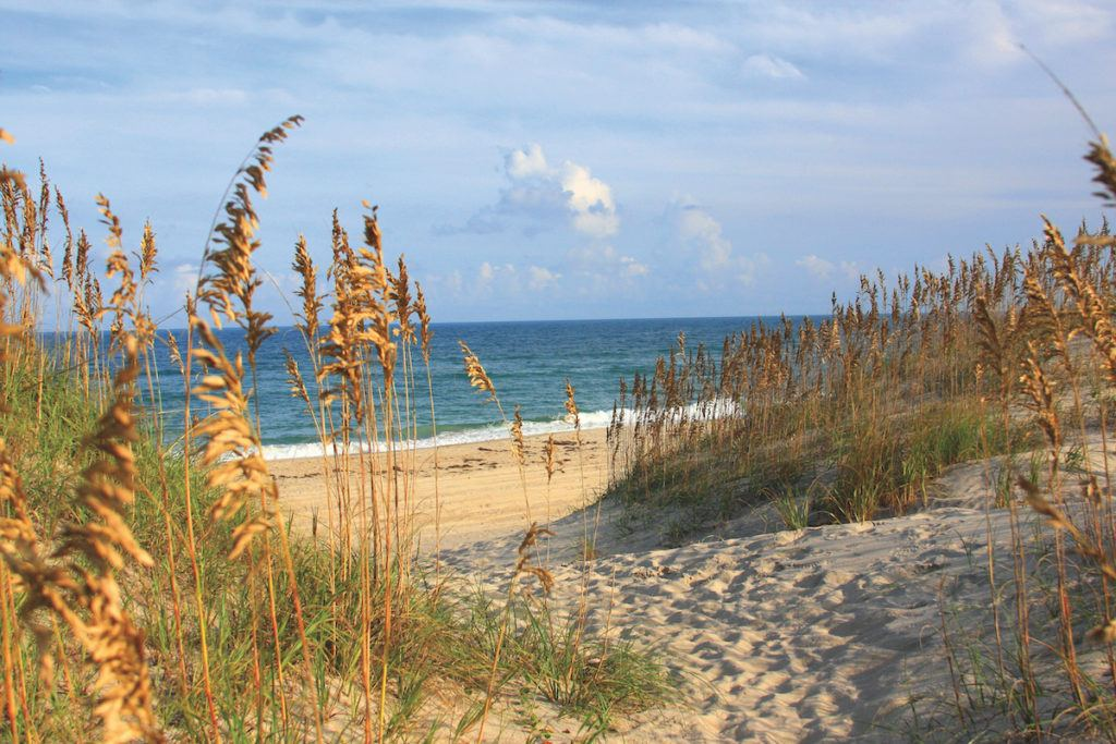 Coquina Beach in Rodanthe NC looking through the dunes at the ocean