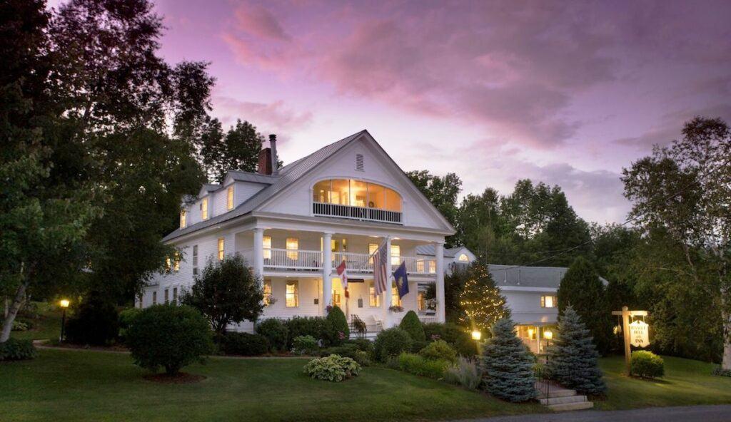 Rabbit Hill Inn at dusk with purple sunset