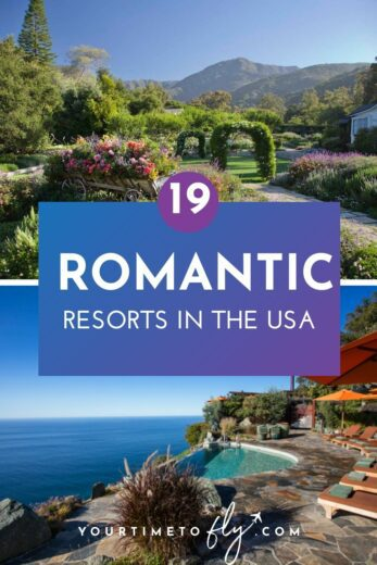 19 Romantic resorts in the USA hotel gardens on top and infinity pool overlooking Big Sur in the bottom