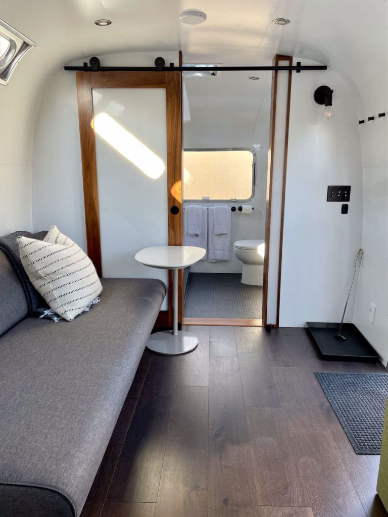 Airstream inside couch living area