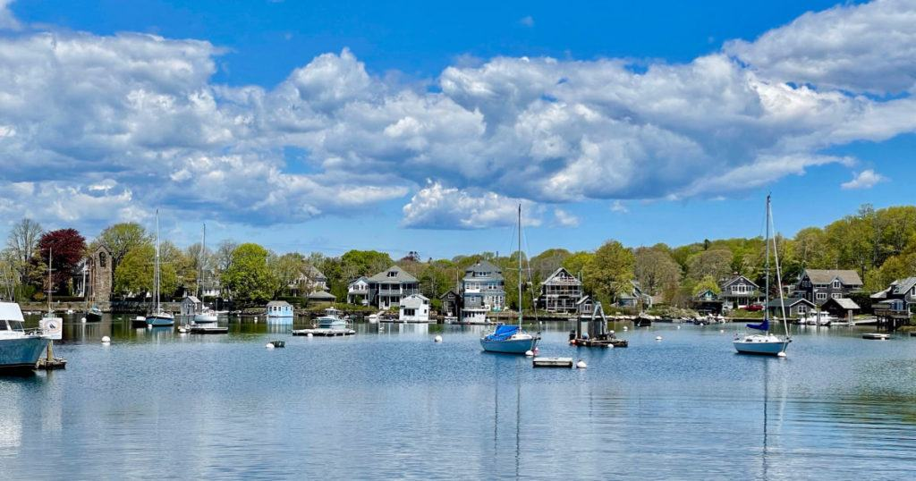 Harbor with boats in Woods Hole MA