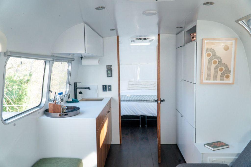 Airstream inside kitchen area