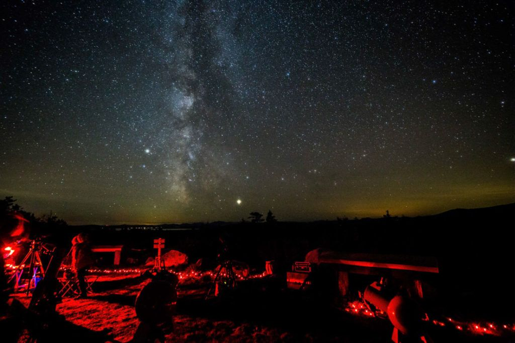 Star gazing and the Milky Way in Katahdin Woods & Waters National Monument. Photo credit: John Meader from Northern Stars Planetarium