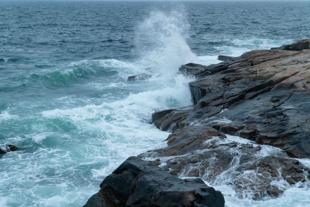 waves crashing on rocks at Schoodic Point