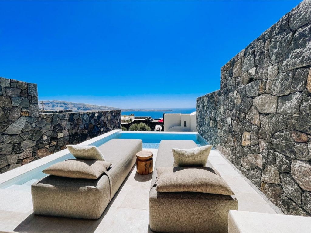 Canaves Oia Epitome honeymoon suite plunge pool