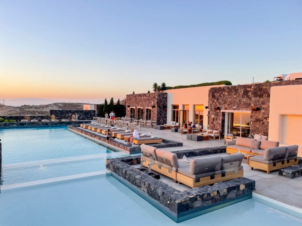 Pool at Canaves Oia Epitome at sunset