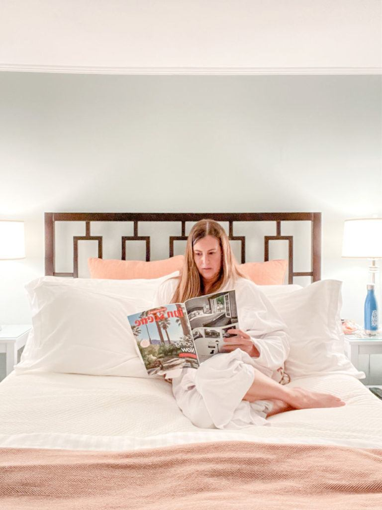 reading in bed at the Inn at English Meadows