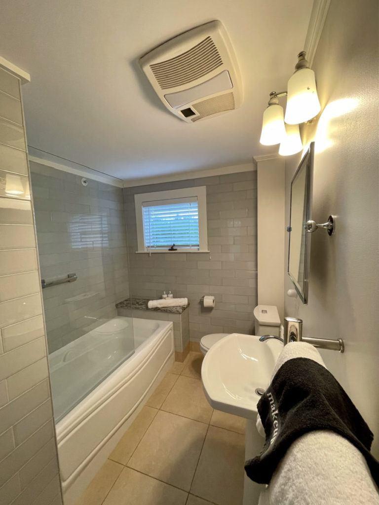 Sea glass bathroom at Inn at English Meadows